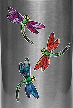 Stained Glass Style Dragonfly - D3 - Vinyl Water Bottle Deca