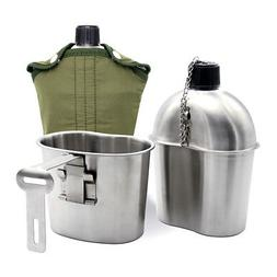 Stainless Steel Army Military Patrol Water Bottle Canteen+Gr