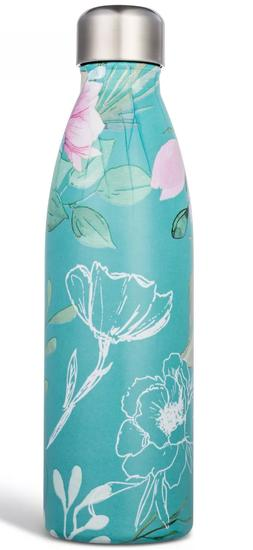 Stainless Steel Double Wall Blue Peony Floral Water Bottle 1