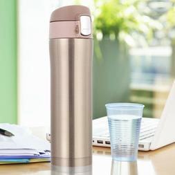 Stainless Steel Gold Insulated Thermos Travel Cup Flask Wate