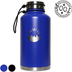 Stainless Steel Growler – Double Walled Water Bottle 64 oz