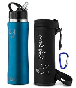 ac944ea491 SWIG SAVVY Stainless Steel Water Bottle - with Straw Cap, Va