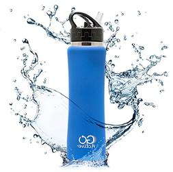 GO Active Insulated Water Bottle with Straw. Stainless Steel