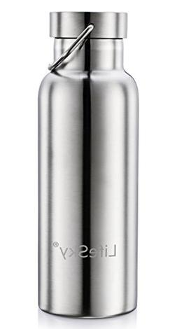 LifeSky Stainless Steel Water Bottle, Double Wall Vacuum Ins