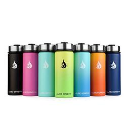 Stainless Steel Water Bottle w/Straw & Wide Mouth Lids Army