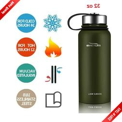 Stainless Steel Water Bottle Wide Mouth Insulated 32oz 24H C