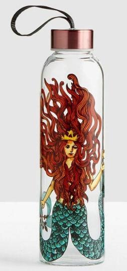 Starbucks Glass Water Bottle Siren Mermaid Wristlet Strap Go