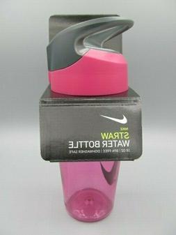 Nike Straw Water Bottle 16oz BPA Free Pink Rise/Cool Grey/Wh