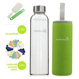 BONISON Stylish Environmental Borosilicate Glass Water Bottl