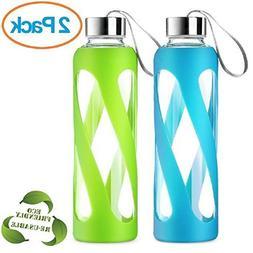 SWIG SAVVY Stylish Real Borosilicate 20-oz Glass Water Bottl