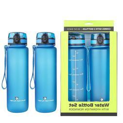 with Leakpr Survivor Sports Water Bottles 32oz - 2 Bottle Set 2 Liters Total