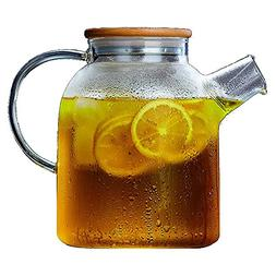 Large Glass Water Pitcher, 60 Ounce Borosilicate Tea Kettle