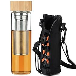 Ferexer Tea Infuser Tumbler Borosilicate Glass Water Bottle