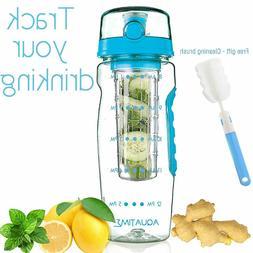 AQUATIME Time Marked Fruit Infuser Water Bottle Large 32 oz