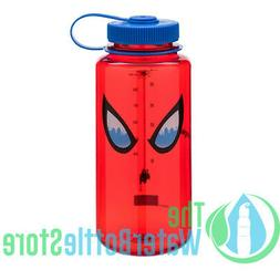 Nalgene Tritan 32oz Water Bottle, Wide Mouth, Red/Blue, Spid
