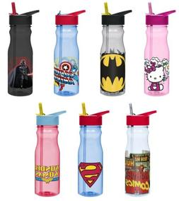 Zak Designs Tritan Water Bottle with Flip-Up Spout and Straw