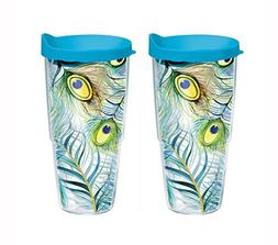 Set of 2 Tervis Tumblers, Peacock, 24oz with Blue Travel Lid