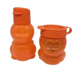 Tupperware Eco Kids Water Bottle and Snack Cup Orange Dinosa