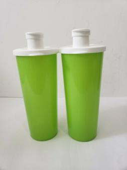 Tupperware Flip Top Tall Tumblers Green Set 2 Cup Beverages