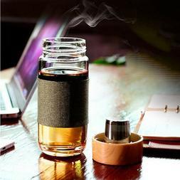 US 400ml / 14oz Glass Water Bottle Travel Mug With Tea Infus