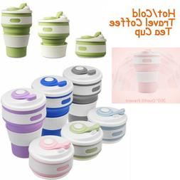 US Outdoor Travel Coffee Cup Collapsible Reusable Silicone W