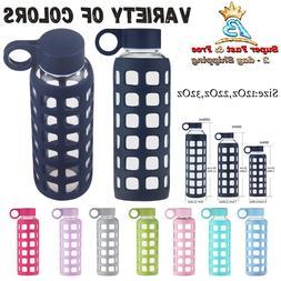 Water Bottle BPA Free Borosilicate Glass Square Silicone Sle