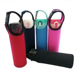 Water Bottle Carrier Insulated Cover Bag Holder Strap Travel