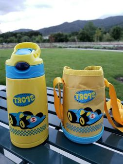 Water Bottle for Kids with Straw Cars Stainless Steel Insula