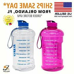 Pro Level Water Bottle Motivational Half Gallon Workout Hydr