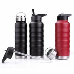 REYLEO Water Bottle with Straw Lid- 24 Oz Black, 2 Lids, 18/