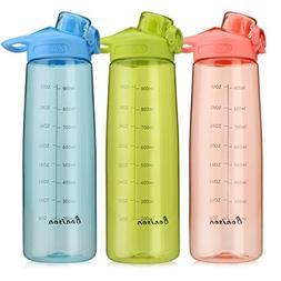 Bonison 34 OZ Wide Mouth Sports Water Bottle Flip Top Lid Wi